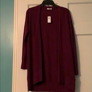 Gap long cardigan, berry, size petite medium, NWT